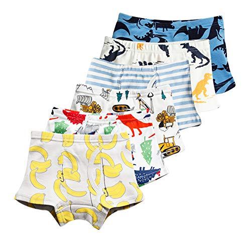 Aschic Little Boy's Soft Cotton Boyshorts Underwear Toddler Kid's 6-Pack Assorted Boxer Briefs (Multi 1, 3-4 Years) - Waistband Boyshort