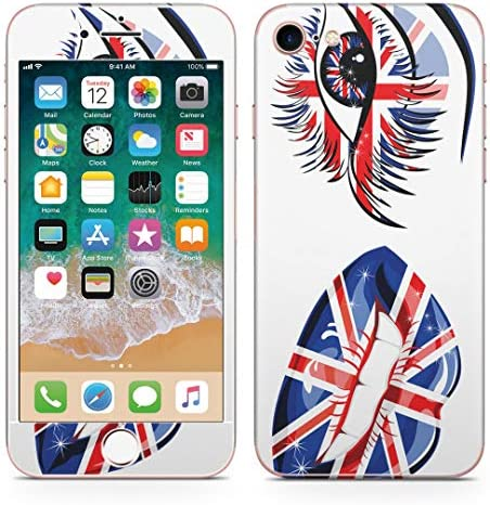 igsticker iPhone SE 2020 iPhone8 iPhone7 専用 スキンシール 全面スキンシール フル 背面 側面 正面 液晶 ステッカー 保護シール 007987 ユニーク 英国 国旗 唇 くちびる イラスト