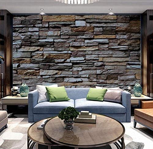 Sunkuxc 3Dレンガ壁紙ブロック壁画リビングルームテレビ背景ブロック3D石壁紙3D写真壁画3Dウォールステッカー-250X175Cm