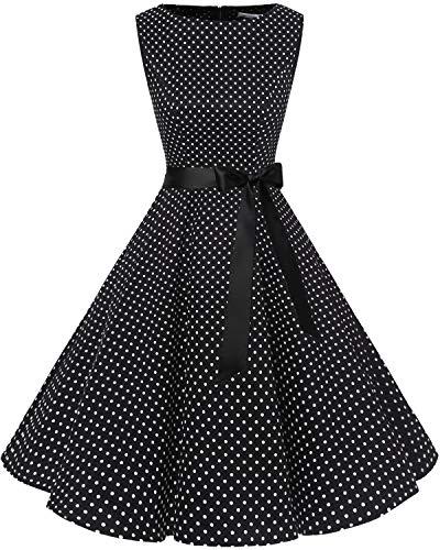 Women's Vintage Bbonlinedress 1950s White Dot Black Summer Audrey Rockabilly Swing Dress Uqfw6