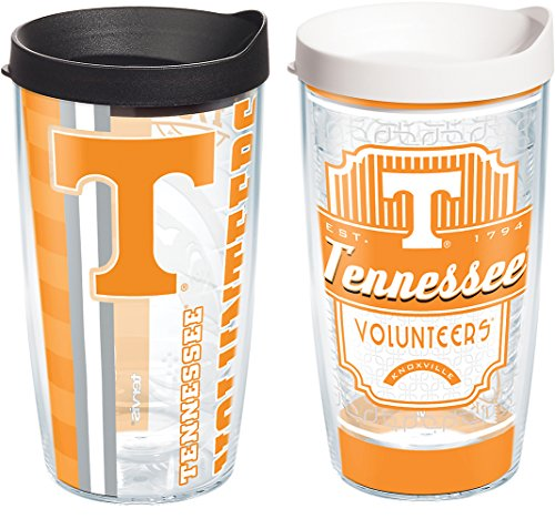 (Tervis 1239936 Tennessee Volunteers College Pride and Prep Insulated Tumbler with Wrap and Assorted Lid 2 Pack-Boxed, 16 oz, Clear)