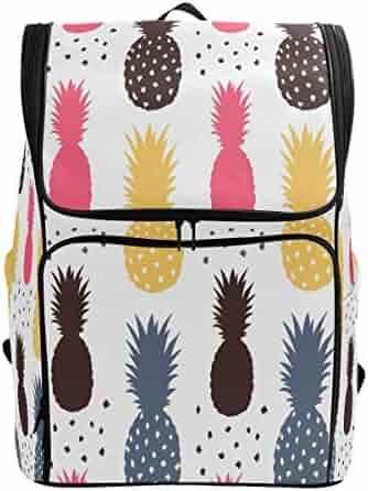 bc1fa05e203f ZZKKO Tropical Summer Pineapple Polka Dot Backpacks College School Book Bag  Camping Hiking Travel Daypack