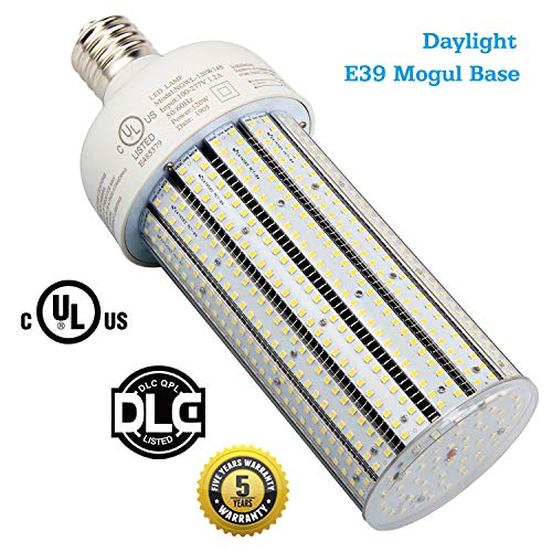 400W High Pressure Sodium Replacement LED Corn Light Bulbs 120 Watt Dustproof Parking Lot Fixture Retrofit Bulb E39 Mogul Base 5000K Pure White for Warehouse, Garage, Car Park AC100-277V (120)