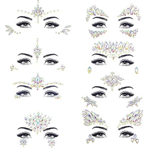 Noctilucent Face Gems Luminous Temporary Tattoo Stickers Acrylic Crystal Glitter Stickers Waterproof Face Jewels Rainbow…