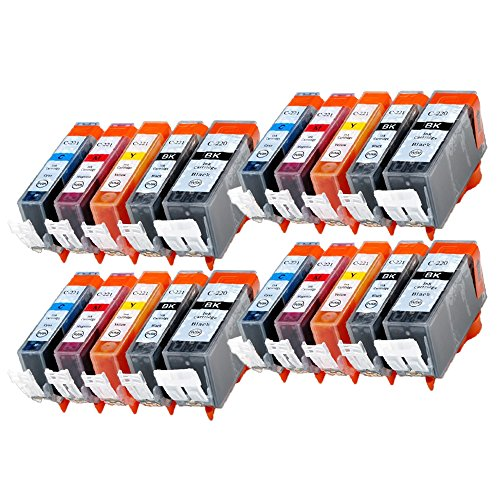 YATUNINK 20PK New Compatible Ink Cartridge for Canon PGI-220 CLI-221 PGI220 CLI221 Replacement for Canon PIXMA IP3600 IP4600 MP620 MP980 MX860 MP560 IP4700 MP640 ECT (New Compatible Ink)
