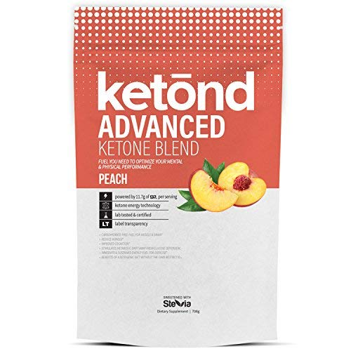 Ketond Advanced Ketone Supplement - 11.7g of goBHB per Serving (30 Servings) - #1 Rated BHB (Beta-HydroxyButyrate) Supplement for Weight Loss, Increased Energy, Focus & Fat Loss (Peach)