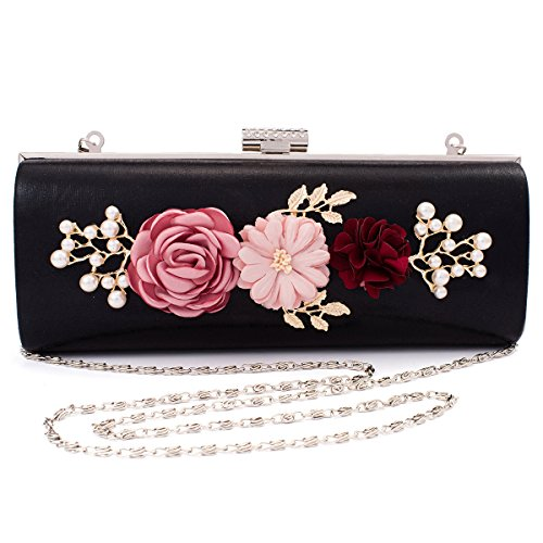 Womens Solid Clutch Flowers Gold Delicate Bag Evening Beads Darama 6fdPFq6