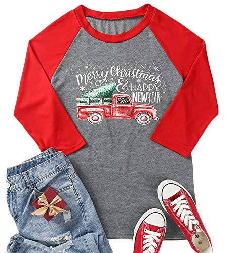 (Merry Christmas and Happy New Year T Shirts Women Christmas Tree Truck 3/4 Sleeve Splicing Baseball Tee Tops)