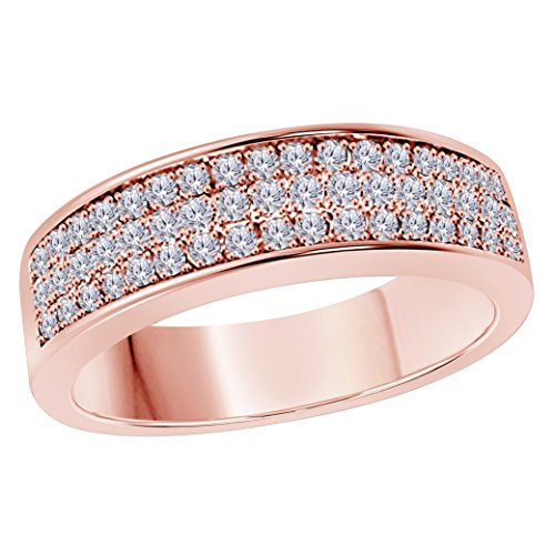 6MM 14K Rose Gold FN Alloy 0.50CT White CZ Diamond Ring 3 Row Pave Men's Hip Hop Anniversary Wedding Band Ring Size All (Diamond Mens Fashion Band)