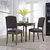 Belleze Elegant Dining Chairs with Solid Wood Traditional Nailhead Trim Seat Linen Fabric Set of 2, Dark Gray