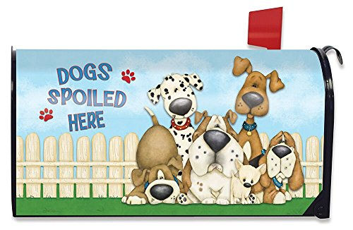 Briarwood Lane Dogs Spoiled Here Spring Magnetic Mailbox Cover Humor Puppies Standard (Us Postal Cover)