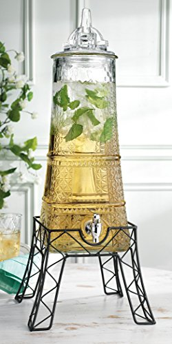 Eiffel Tower Shaped 1.5 Gallon Beverage Dispenser With Glass Lid On Metal Stand Easy Flow Spigot, Clear, for Picnics Parties Bbq – By Home Essentials & Beyond (With Beverage Dispenser Plastic Stand)