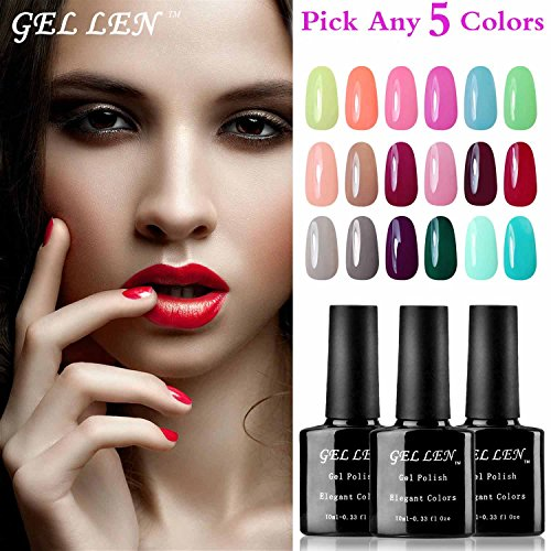 Gellen Pick Any 5 Colors UV Gel Nail Polish, Nail Art Home Salon Set 5 Sec Gel