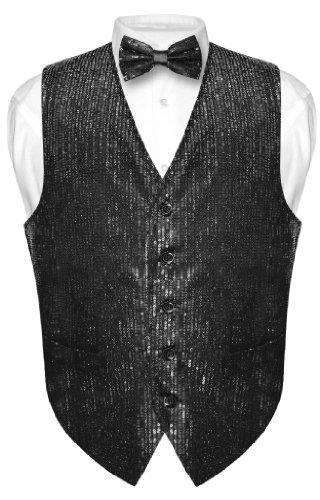 Extra Small Black Color (Men's SEQUIN Design Dress Vest & Bow Tie BLACK Color BOWTie Set size Extra Small)