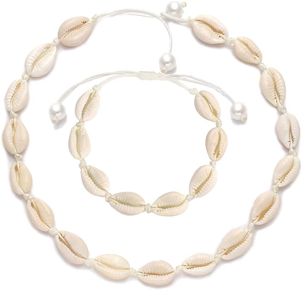 Shell Necklace, Handmade Sea Shell Choker Adjustable Natural Cowries Shell Anklet, Boho Hawaii Summer Beach Necklaces Bracelet Set Jewelry for Women Girls with Gift Box