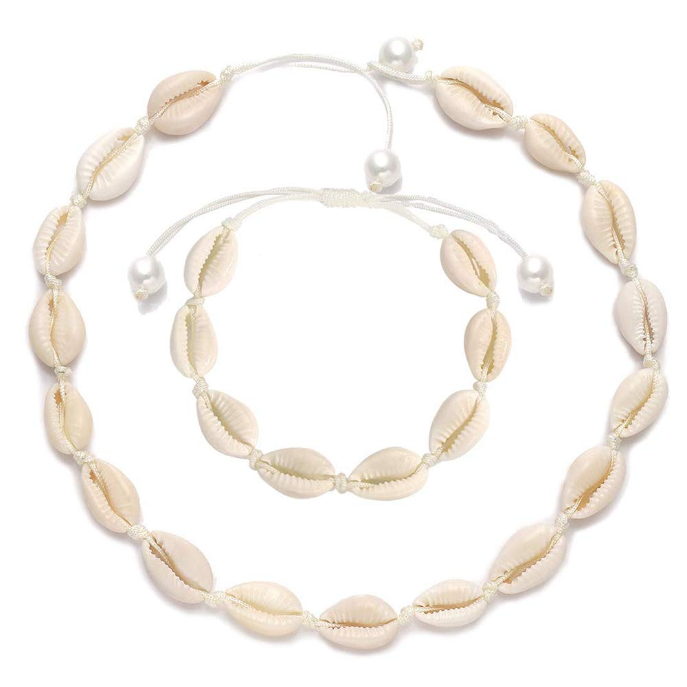 Boho Hawaii Summer Beach Necklaces Bracelet Set Jewelry for Women Girls with Gift Box Handmade Sea Shell Choker Adjustable Natural Cowries Shell Anklet Shell Necklace