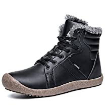 Yavero Mens Lightweight Waterproof Snow Boots Women Lace up Outdoor Winter Booties Fully Fur Lined Shoes