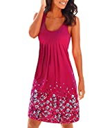 Yidarton Women's Summer Casual Loose Mini Dress Print Pleated Sleeveless Sundress A-Line Beach Dresses