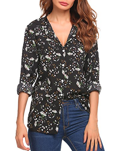 Women Casual Round Neck Cuffed Sleeve Floral Print Blouses - Print Blouse Check