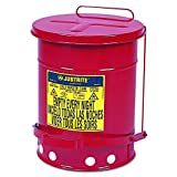 JUSTRITE 09100 Oily Waste Can, 6 gal, Red