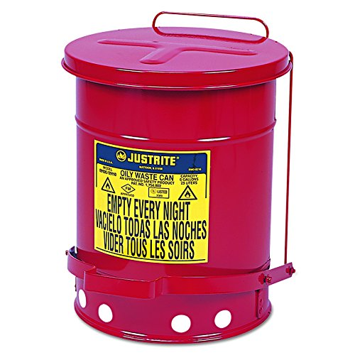 JUSTRITE 09100 Oily Waste Can, 6 gal, Red ()