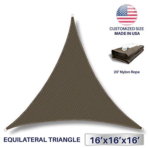 Awnings Home Depot - Windscreen4less IFD161616 Sun Shade Sail Canopy with Commercial Grade (3 Year Warranty) Customized Sizes Available 16' x 16' x 16', Brown