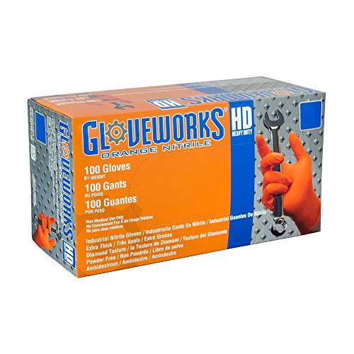 AMMEX - Gwon - Nitrile Gloves - Gloveworks - Heavy Duty, Disposable, Powder Free, Latex Rubber Free, 8 mil, Orange Nitrile Gloves