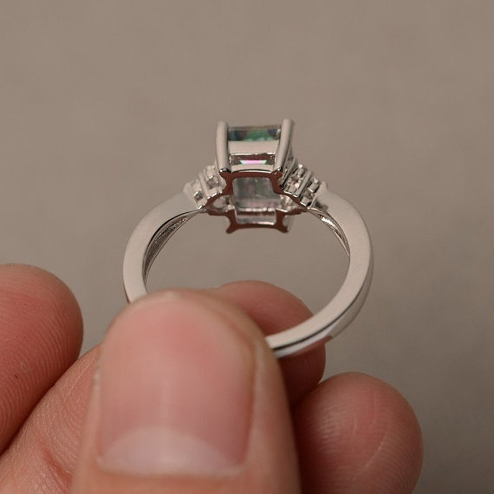 Size 6 7 8 9 10 Wedding Rings BSGSH Jewelry Mysterious Rainbow Topaz Ring Engagement Cocktail Party Rings