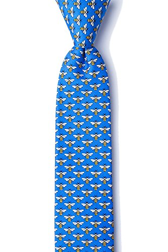 Men's Hipster 100% Silk Blue with Micro Yellow Bees Skinny Narrow Necktie Tie from Alynn