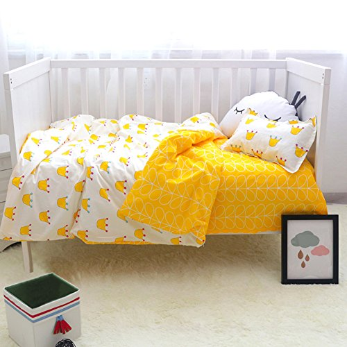 Per 3pcs Baby Bedding Set Cotton Quilt Cover&Pillowcase&Bed Sheet With Lovely Pattern Without Blanket and Pillow for Toddlers Bedroom (yellow) by Per