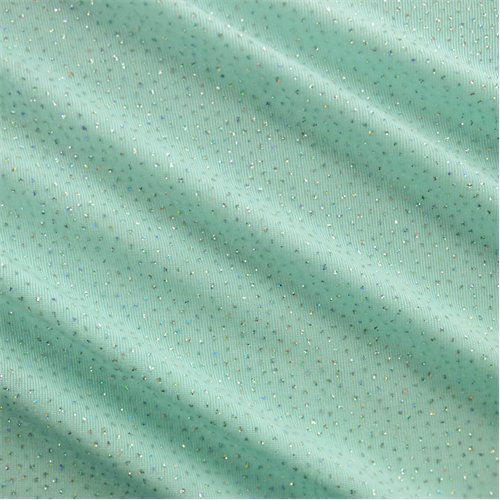 Mint Teal/Silver Glitter Flock Slinky Knit, Fabric by The Yard