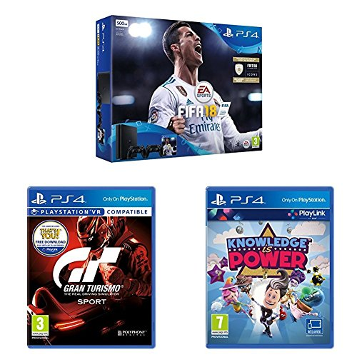 Sony PlayStation 4 (500GB) with FIFA 18 and DS4 Black Controller + Gran Turismo Sport + Knowledge is Power