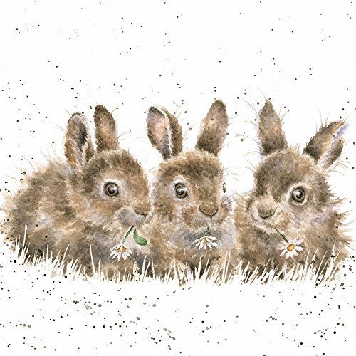 Artistic Greeting Card (WRE2479) - Blank/Birthday - Daisy Chain - Rabbits - Country Set Collection - Hannah Dale Wrendale Designs