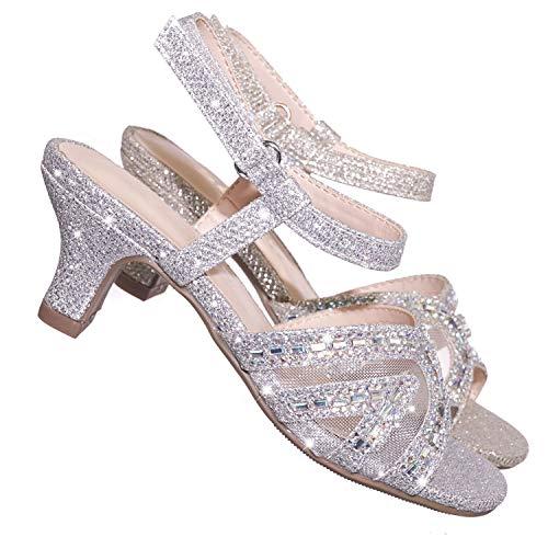 Aquapillar Girls Glitter Rhinestone Sandal - Childrens Kids Heel Open Toe Dress Shoe