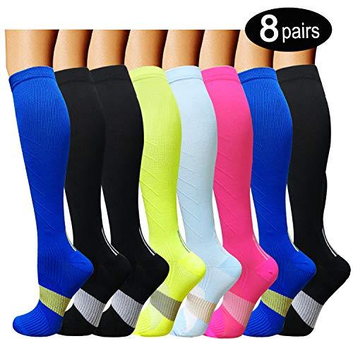 8 Pairs Compression Socks Women & Men -Best Medical,Nursing,Travel & Flight Socks-Running & Fitness-15-20mmHg (L/XL, Assorted 9)