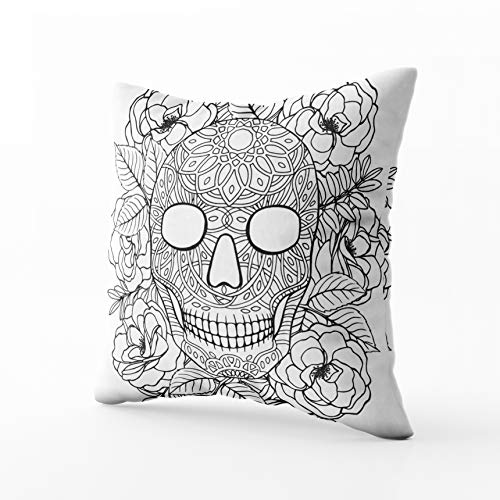 GROOTEY Square Pillowcase with Zip for Easter Couch Sofa Décor Sugar Skull Printable Coloring Book Page 18X18Inch Throw Pillow Covers Cushion ()