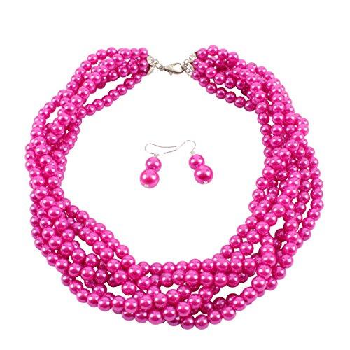 (KOSMOS-LI Faux Fuchsia Pearl Strand Handwoven Costume Jewelry Fow Women Chokers Necklace)