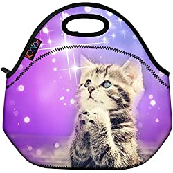 ICOLOR Cute Cat Girls Insulated Neoprene Lunch Bag Tote Handbag lunchbox Food Container Gourmet Tote Cooler warm Pouch For School work Office