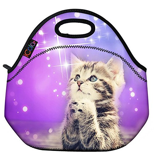 Kids Lunch Tote - ICOLOR Cute Cat Girls Insulated Neoprene Lunch Bag Tote Handbag lunchbox Food Container Gourmet Tote Cooler warm Pouch For School work Office