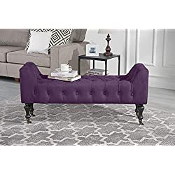 Divano Roma Furniture Classic Tufted Microfiber Footrest/Footstool / Ottoman with Casters (Purple)