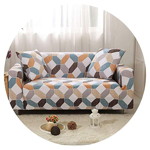 - Cross Pattern Elastic Sofa Cover Tight Sectional Slipcover Wrap All-Inclusive Loveseat Corner Sofa Cover cogines para Sofa 1pc,Color 15,3-Seater 190-230cm