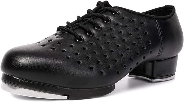 HIPPOSEUS Zapatos de Baile Jazz Tap Negros para Hombres con