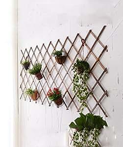 CAIJUN Flores Escaleras Maciza de Malla de Madera Maceta de Maceta de Rack Sala de Muro de Flores de Pared Muro de Decoración de la Pared Balcón colgada de Maceta de Maceta (Tamaño : H100-224*73cm)
