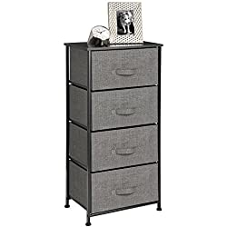 mDesign Vertical Dresser Storage Tower - Sturdy Steel Frame, Wood Top, Easy Pull Fabric Bins - Organizer Unit for Bedroom, Hallway, Entryway, Closets - Textured Print - 4 Drawers, Charcoal Gray/Black