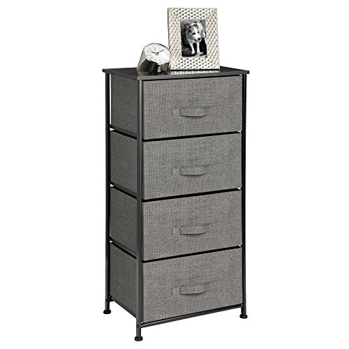 Vertical Dresser Storage Tower - Sturdy Steel Frame, Wood Top, Easy Pull Fabric Bins - Organizer Unit for Bedroom, Hallway, Entryway, Closets - Textured Print - 4 Drawers, Charcoal Gray/Black