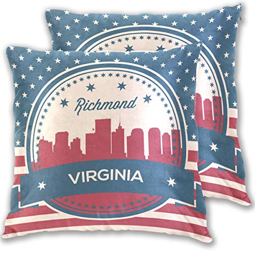 Franzibla Virginia State Richmond Skyline Cotton Pillowcases Set of 2,20 X 20 Inch Pillow case