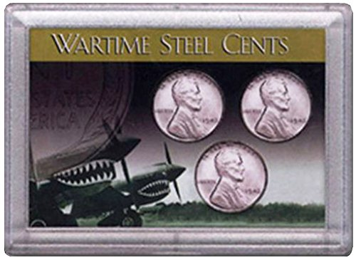 - 1943 P, D, S Wartime Steel Cents 3 Coin Set in Whitman Holder Circulated