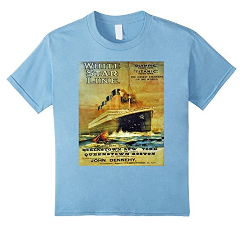 unisex-child Titanic White Star Line Vintage Poster T-Shirt Tee  10 Baby Blue