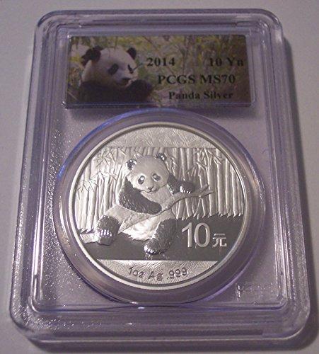 (2014 CN China - 1 Ounce Silver Panda Label 10 Yuan MS70 PCGS)