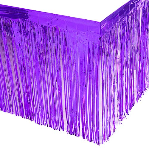 Leegleri 2 Pack Metallic Foil Fringe Table Skirt Purple Plastic Table Skirt Tinsel Party Table Skirt Banner for Mardi Gras Party(L108inH29in,Purple)